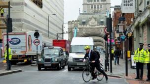 London mayor Boris Johnson promoting cycle safety
