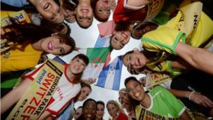 """Candidates for the """"Miss World Cup"""" pose at Europa-Park in Rust, Germany"""