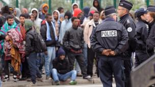 Police went into the camps in Calais early on Wednesday