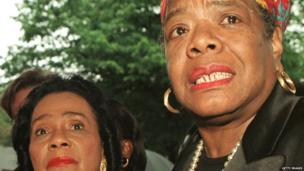 Coretta Scott King (left), widow of slain civil rights leader Martin Luther King Jr, and Maya Angelou speak to members of the media after visiting Betty Shabazz, the widow of Malcom X, at Jacobi Hospital in the Bronx, New York, in June 1997