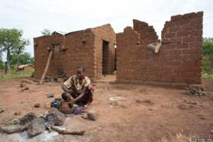 Destroyed homes in Zere village, CAR