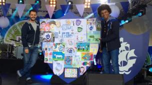 Blue Peter presenters Barney Harwood and Radzi Chinyanganya