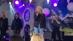 Pop singer Pixie Lott performing on stage