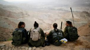 Israeli soldiers of the Caracal battalion rest