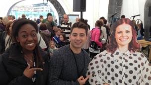 Ricky and Ayshah with a cut-out of Blue Peter's Lyndsey