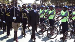 Zimbabwean President Robert Mugabe (centre) at a police graduation ceremony in Harare - Thursday 29 May 2014