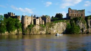 Chepstow Castle viewed from the north bank of the Wye