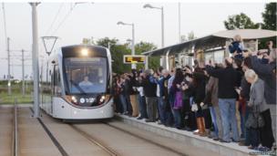 Tram service's first run in Edinburgh