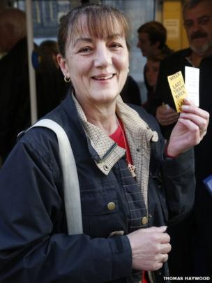 Tram user with ticket