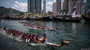 Competitors in the annual Dragon Boat Festival in Hong Kong