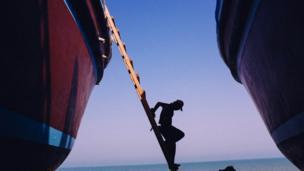 A worker in a shipyard on Qeshm Island
