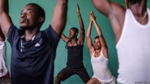 Yoga participants in Sierra Leone