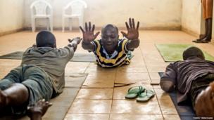 Yoga participants in a mental hospital, Sierra Leone