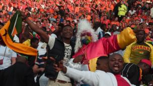 Ghanaian football fans in Rotterdam, The Netherlands - Saturday 31 May 2014