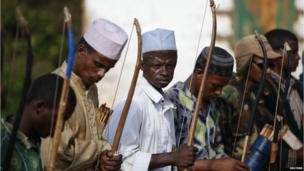 Peul men with bows and arrows in Molemi, CAR - Thursday 5 June 2014