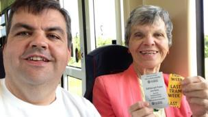 Mother and son on an Edinburgh tram