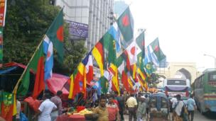 World Cup flags in Dhaka, Bangladesh