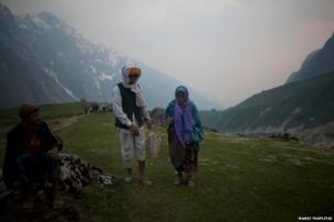 An old couple from Rajasthan on their way to Kedarnath shrine. Government is not allowing people to go ahead if they are medical unfit. People who are coming from far off, with faith and sometimes spending half of their earnings on the trip are disappointed with this arrangement.