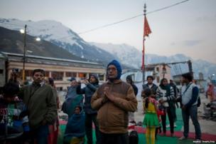 """Pilgrim Bankelal Rathore, 55, a teacher from Madhya Pradesh state, had visited Kedarnath in 2012 with his wife. He said that he was shocked to see the extent of the damage caused by the flooding. """"We couldn't find the guesthouse we stayed in last time. It had disappeared,"""" he said"""