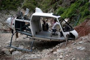 During rescue operations last year, five helicopters used by the government crashed on the way to Kedarnath. A year on, remains of this helicopter have still not been cleared.