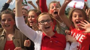 Pupils celebrating in Grimsby