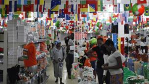 World Cup souvenir shop in Abidjan, Ivory Coast - Tuesday 10 June 2014