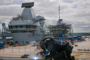 Construction continues on the HMS Queen Elizabeth aircraft carrier being built in Rosyth Dockyard