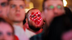 Croatian football fans watch the World Cup match between Cameroon and Croatia on 18 June in Croatian capital Zagreb's main square