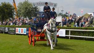 Heavy horse display at the Lincolnshire Show