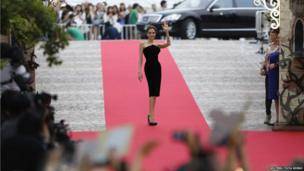 """Actress Angelina Jolie makes an appearance before fans at the Japan premiere of """"Maleficent"""" in Tokyo on 23 June 2014."""