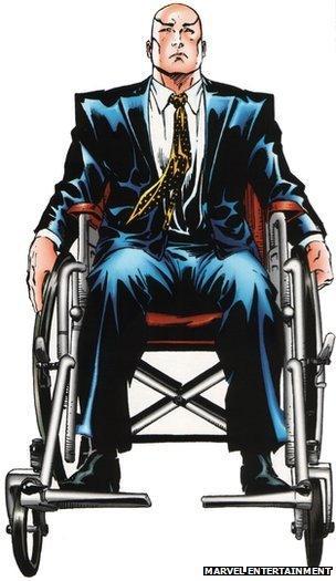 Professor X sitting in his wheelchair