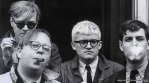 Andy Warhol, Henry Geldzahler, David Hockney and Jeff Goodman, 1963