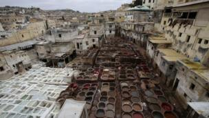 Moroccan workers process animal hides inside old tanks with colour dyes for leathers in the tannery in the old town of Fez, Morocco on 20 June 2014