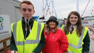 School Reporters Aaron and Cody with Derry City Council Chief Executive Sharon O'Connor