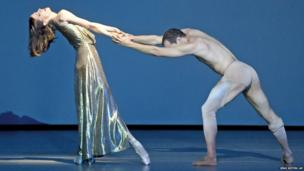 Svetlana Gileva and Jiri Bubenicek dance during the rehearsal of Legends – Homage to Richard Strauss in Dresden, Germany