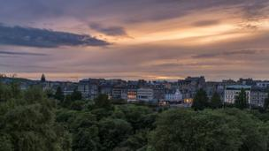 Sunset over Princes Street