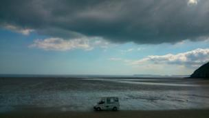 Ice cream van on the beach at Pendine, Carmarthenshire