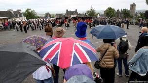 Crowds parade