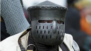 Man in helmet at Bannockburn Live