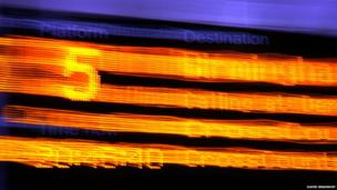 Abstract photograph of a platform sign at Sheffield station