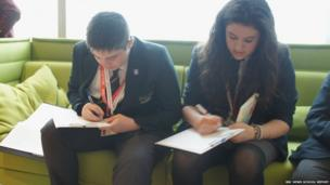 Thomas and Sophie working on their questions