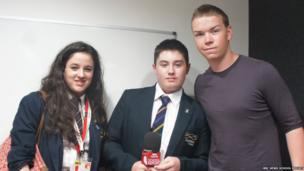 Sophie and Alice with actor Will Poulter