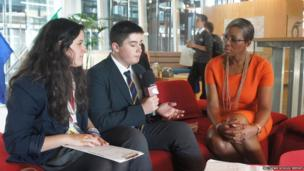 Sophie and Thomas interviewing Tessy Ojo