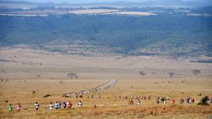 Athletes running in Kenya's Laikipia district on 28 June 2014