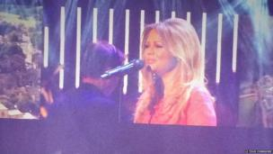 Kimberley Walsh performs at the opening ceremony of the Tour de France in Leeds