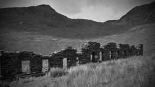 The ruins of the quarry men's barracks in the South Snowdon Slate Quarry
