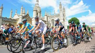 The pack of riders is on the way during the 3rd stage of the 101st edition of the Tour de France