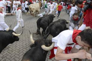 Bull run at the San Fermin festival in Pamplona, Spain