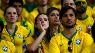Brazil fans react at the Mineirao stadium in Belo Horizonte, July 8, 2014.
