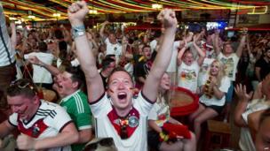 Germany fans celebrate a goal in Palma de Mallorca, July 8, 2014.